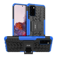 Protect your Samsung Galaxy S20 from bumps and scrapes with this blue ArmourDillo case from Olixar. Comprised of an inner TPU case and an outer impact-resistant exoskeleton, with a built-in viewing stand.