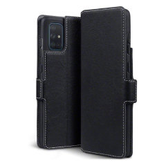 All the benefits of a wallet case but far more streamlined. The Olixar Slim Genuine Leather case in black is the perfect partner for the the Samsung Galaxy A71 owner on the move. What's more, this case transforms into a handy stand to view media.