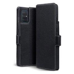 Verwöhnen Sie Ihr Samsung Galaxy A71 mit einer luxuriösen Klapp-Walletentasche. Ausgestattet mit einem schwarzen Echtleder-Außenmaterial