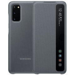 This Official Samsung Clear View Cover in Grey is the perfect way to keep your Samsung Galaxy S20 smartphone protected whilst keeping yourself updated with your notifications thanks to the clear view front cover.