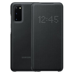 Schützen Sie Ihren neuen Samsung Galaxy S20 Bildschirm vor Schaden und dem Laufenden halten mit Ihren Mitteilungen durch die intuitive LED-Display mit der offiziellen Schwarz LED Abdeckung von Samsung.