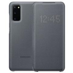 Schützen Sie Ihr Samsung Galaxy S20 Bildschirm vor Schaden und dem Laufenden halten mit Ihren Mitteilungen durch die intuitive LED-Display mit der offiziellen grau LED Abdeckung von Official Samsung.