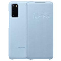Schützen Sie Ihr Samsung Galaxy S20 Bildschirm vor Schaden und dem Laufenden halten mit Ihren Mitteilungen durch die intuitive LED-Display mit der offiziellen Himmel blau LED Abdeckung von Samsung.
