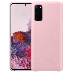 Protect your Samsung Galaxy S20 from harm with the intuitive LED official case from Official Samsung in pink. This LED smart case allows you to receive notifications, set mood lights, have icon features & connect with friends all through the LED lights.