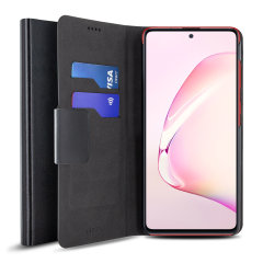 Protect your Samsung Galaxy Note 10 Lite with this durable and stylish black leather-style wallet case by Olixar. What's more, this case transforms into a handy stand to view media.