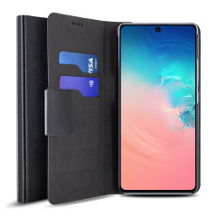 Protect your Samsung Galaxy S10 Lite with this durable and stylish black leather-style wallet case by Olixar. What's more, this case transforms into a handy stand to view media.