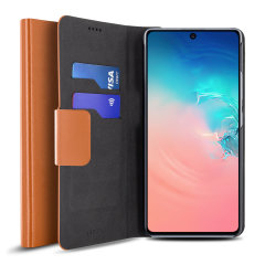 Protect your Samsung Galaxy S10 Lite with this durable and stylish brown leather-style wallet case by Olixar. What's more, this case transforms into a handy stand to view media.