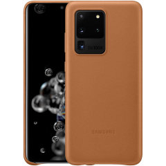 This Official Samsung Leather Cover in brown is the perfect way to keep your Galaxy S20 Ultra smartphone protected in style, made out of genuine leather.