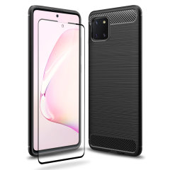 Flexible rugged casing with a premium matte finish non-slip carbon fibre and brushed metal design, the Olixar Sentinel case in black keeps your Samsung Note 10 Lite protected from 360 degrees with the added bonus of a tempered glass screen protector.