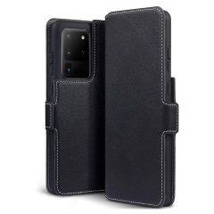 All the benefits of a wallet case but far more streamlined. The Olixar Slim Genuine Leather case in black is the perfect partner for the the Samsung Galaxy S20 Ultra owner on the move. What's more, this case transforms into a handy stand to view media.