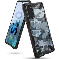 Keep your Samsung Galaxy S20 protected from bumps and drops with the Rearth Ringke Fusion X Design tough case in Camo Black. Featuring a 2-part, Polycarbonate design, this case lives up to military drop-test standards whilst being incredibly stylish.