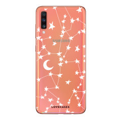 Take your Samsung Galaxy A70 to the next level with this stunning White Stars & Moons design case from LoveCases. Cute but protective, the ultra-thin case provides slim fitting and durable protection against lifes little accidents.