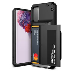 Protect your Samsung S20 with this precisely designed Damda Glide Pro case in Black from VRS. Made with tough yet slim material, this hard-shell construction with soft core features patented sliding technology to store two credit cards or ID.