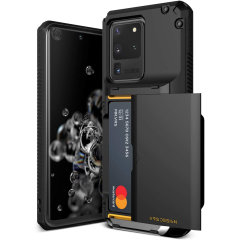 Protect your Samsung S20 Ultra with this precisely designed Damda Glide Pro case in Black from VRS. Made with tough yet slim material, this hard-shell construction with soft core features patented sliding technology to store two credit cards or ID.
