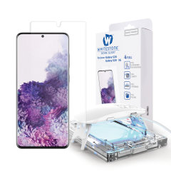 The Whitestone Dome Glass screen protector for Galaxy S20 uses a UV lamp with a proprietary UV adhesive installation to ensure a total and perfect fit for your device. Featuring 9H hardness for absolute protection, as well as 100% touch sensitivity.