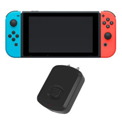 The Flytunes Bluetooth Transmitter by Scosche in black transmits a Bluetooth signal to your Nintendo Switch controller allowing you to receive audio from your Nintendo Switch to your headset, ensuring you're connected 24/7.