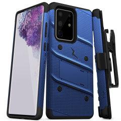 Equipar su Galaxy Samsung S20 Ultra con protección de nivel militar y excelente funcionalidad con el caso Perno ultra resistente en azul de Zizo. Viene completo con un clip de cinturón y el pie de apoyo integrado.