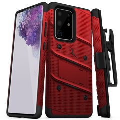 Equip your Samsung Galaxy S20 Ultra with military-grade protection and superb functionality with the ultra-rugged Bolt case in red from Zizo. Coming complete with a handy belt clip and integrated kickstand.