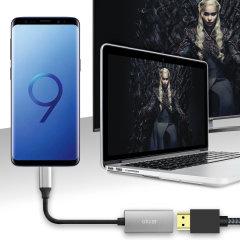 Schließen Sie Ihr Samsung Galaxy S9 an Ihren Fernseher oder Monitor mit diesem HDMI Adapter von Olixar. Schnell und einfach zu verbinden, genießen ultraglatte 4K-Video bei 60 Hz, Anzeige von Fotos und Spiele auf einem größeren Bildschirm. Dex kompatibel.