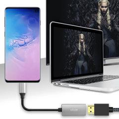 Conectar el Galaxy de Samsung S10 a su televisor o monitor con este adaptador HDMI desde Olixar. Rápida y fácil de conectar, disfrutar de ultra 4K vídeo sin problemas a 60Hz, mostrar fotos y jugar juegos en una pantalla más grande. Dex compatible.