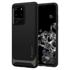 The Spigen Neo Hybrid in gunmetal colour is the new leader in lightweight protective cases. Spigen's new Air Cushion Technology reduces the thickness of the case while providing optimal corner protection for your Samsung Galaxy S20 Ultra.