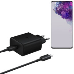 An Official Samsung EU adaptive fast mains charger for your Samsung S20 Ultra. With a power output of 45W, you'll have battery within minutes as this charger is ultra quick. This is the exact that charger that comes with these phones.