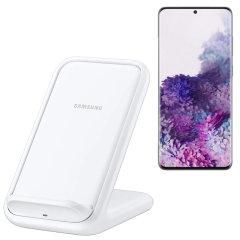 Laad uw draadloos compatibele Samsung Galaxy S20 Plus snel op met de officiële snelle draadloze oplader 15W. Besteed minder tijd aan wachten tot uw telefoon is opgeladen met deze officiële Samsung snelle draadloze oplaadstandaard.