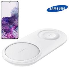 Laad uw Samsung Galaxy S20 Plus-smartphone draadloos op met draadloze snellaadtechnologie met behulp van dit officiële Samsung Qi Duo draadloze oplaadstation.