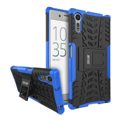 Protect your Sony Xperia XZ from bumps and scrapes with this Blue ArmourDillo case. Comprised of an inner TPU case and an outer impact-resistant exoskeleton, with a built-in viewing stand.