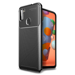 Olixar Carbon Fibre case is a perfect choice for those who need both the looks and protection! A flexible TPU material is paired with an eye-catching carbon print to make sure your Samsung Galaxy A11 is well-protected and looks good in any setting.