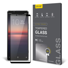 This ultra-thin tempered glass full cover screen protector for the Sony Xperia 1 II from Olixar with black front offers toughness, high visibility and sensitivity all in one package.