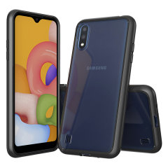 Custom moulded for the Samsung Galaxy A01. This black Olixar ExoShield tough case provides a slim fitting stylish design and reinforced corner shock protection against damage, keeping your device looking great at all times.