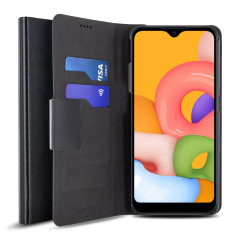 Protect your Samsung Galaxy A01 with this durable and stylish black leather-style wallet case by Olixar. What's more, this case transforms into a handy stand to view media.