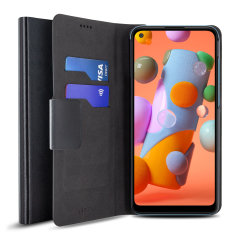 Protect your Samsung Galaxy A11 with this durable and stylish black leather-style wallet case by Olixar. What's more, this case transforms into a handy stand to view media.