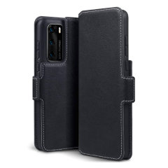 Olixar Slim Genuine Leather Huawei P40 Wallet Case - Black