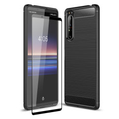 Flexible rugged casing with a premium matte finish non-slip carbon fibre and brushed metal design, the Olixar Sentinel case in black keeps your Sony Xperia 1 II protected from 360 degrees with the added bonus of a tempered glass screen protector.