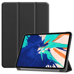 "This stylish black leather style folio case from Olixar will protect your iPad Pro 12.9"" 2020 from all kinds of knocks. Featuring a unique mechanism for 360 degree rotation."