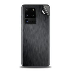 Protect your Samsung S20 Ultra in sleek style with the Olixar Brushed Metal Black Skin. This Skin is completely scratch resistant & ultra-thin finished a premium metal finish leaving behind no residue. This skin will make you stand out from the crowd!