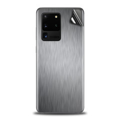 Protect your Samsung S20 Ultra in sleek style with the Olixar Brushed Metal Silver Skin. This Skin is completely scratch resistant & ultra-thin finished a premium metal finish leaving behind no residue. This skin will make you stand out from the crowd!