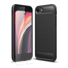 Flexible rugged casing with a premium matte finish non-slip carbon fibre and brushed metal design, the Olixar Sentinel case in black keeps your iPhone SE 2020 protected from 360 degrees with the added bonus of a tempered glass screen protector