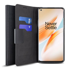 Olixar Leather-Style Oneplus 8 Pro Wallet Stand Case - Black