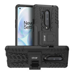 Protect your OnePlus 8 Pro from bumps and scrapes with this black ArmourDillo case from Olixar. Comprised of an inner TPU case and an outer impact-resistant exoskeleton, with a built-in viewing stand.