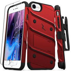 Equip your Apple iPhone SE 2020 with military-grade protection and superb functionality with the ultra-rugged Bolt case in Red and Black from Zizo. Coming complete with a handy belt clip and integrated kickstand.