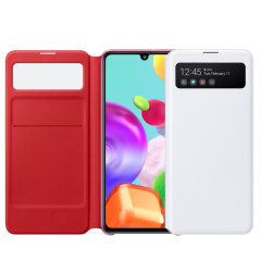 This Official Samsung S-View Flip Cover in White is the perfect way to keep your Galaxy A41 smartphone protected whilst keeping yourself updated with your notifications thanks to the clear view front cover.