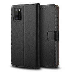 Olixar Genuine Leather Samsung Galaxy A41 Wallet Case - Black
