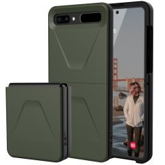 The UAG Civilian Case in Olive for the Galaxy Z Flip features a classic tough-looking, composite design with a soft impact-absorbing core & hard exterior that provides superb protection in all situations. Compatible with wireless charging.