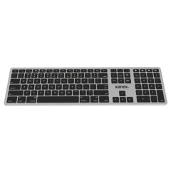 This Full-size wireless Kanex keyboard includes a numeric keypad and Mac shortcut keys. The streamlined, low-profile design makes the keyboard unobtrusive and takes up minimal space on your desk. Features includes soft-touch keys & a rechargeable battery.
