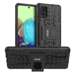 Protect your Samsung Galaxy A71 5G from bumps and scrapes with this black ArmourDillo case from Olixar. Comprised of an inner TPU case and an outer impact-resistant exoskeleton, with a built-in viewing stand.