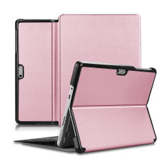 This stylish rose gold leather style folio case from Olixar will protect your Microsoft Surface Go 1 from all kinds of knocks. Featuring a smart sleep / wake functionality with a viewing stand enabling you to watch your media.