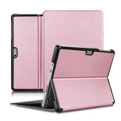 Olixar Leather-style Microsoft Surface Go 1 Folio Stand Case Rose Gold